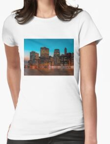 Manhattan at night Womens Fitted T-Shirt
