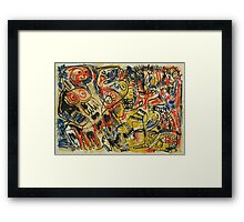 Oil Pastel Red, Yellow, Blue and Black Image Framed Print