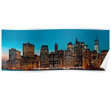 Manhattan at night panorama Poster