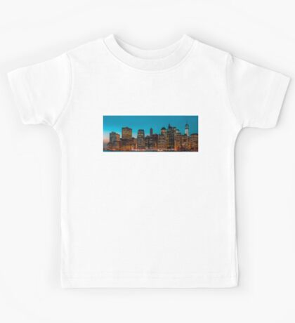 Manhattan at night panorama Kids Tee
