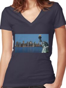 Early morning New York City skyline panorama Women's Fitted V-Neck T-Shirt