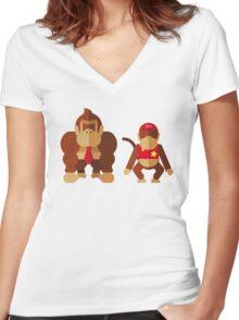Cool monkeys Women's Fitted V-Neck T-Shirt