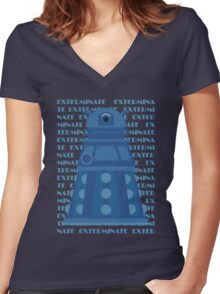 Exterminate Blue Women's Fitted V-Neck T-Shirt