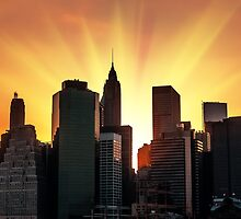 Sunset in New York City by Mikhail Palinchak