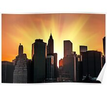 Sunset in New York City Poster