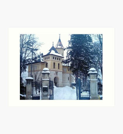 Church covered with snow Art Print