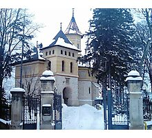 Church covered with snow Photographic Print