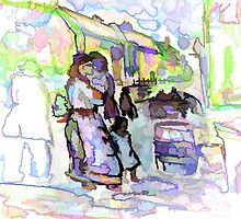 Street market ( from my original acrylic painting digitally enhanced) by sword