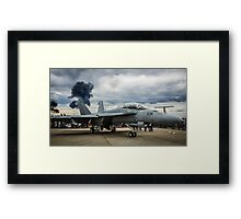F-18 Hornet with explosions Framed Print