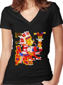 Xipe Totec Women's Fitted V-Neck T-Shirt