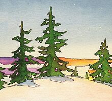 Pine trees, snow and sunset watercolor by UncleShlomo