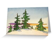 Pine trees, snow and sunset watercolor Greeting Card