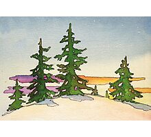 Pine trees, snow and sunset watercolor Photographic Print