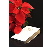 Poinsettia and Bible Photographic Print