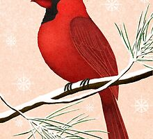american red cardinal winter version :) by bymuravka
