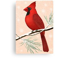 american red cardinal winter version :) Canvas Print