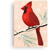 american red cardinal winter version :) Canvas Print