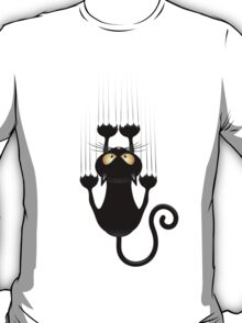 Black Cat Cartoon Scratching Wall T-Shirt