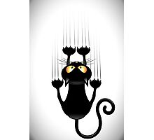 Black Cat Cartoon Scratching Wall Photographic Print