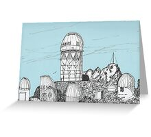 telescopes on top of Kitt Peak Arizona Greeting Card
