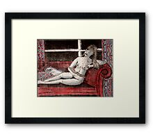 Nude and cat Framed Print