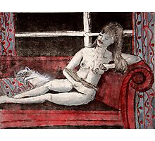 Nude and cat Photographic Print