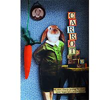RABBIT carrots assemblage mixed media collage shadow box art Photographic Print