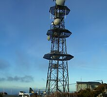 tower on Mt Read - dangerous tower in winter with ice daggers dropping  down by gaylene