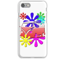 VW BUS with hippie flowers RED version iPhone Case/Skin