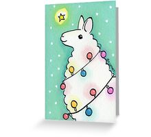 Festive Llama with Christmas Lights Greeting Card