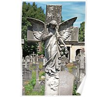 Angel with bowed head Brompton Cemetery Poster