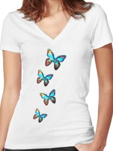 Space Butterfly, Butterflies, Galaxy, Universe, Planet, Nature Women's Fitted V-Neck T-Shirt