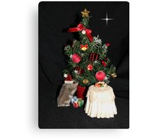 Skittles Decorating her Christmas Tree Canvas Print
