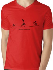 Mid Life And Mobile - Cycling Cartoon Mens V-Neck T-Shirt