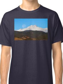 Full Moon Setting Over Snow Covered Twin Peaks  Classic T-Shirt