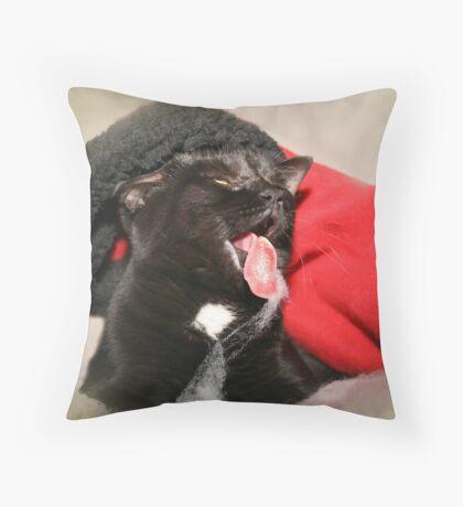A Catitude Christmas Throw Pillow
