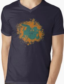 Drumset Splatter 3D look silhouette Mens V-Neck T-Shirt
