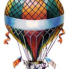 antique typographic vintage hot air balloon by surgedesigns