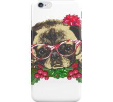 Cute pug in glasses iPhone Case/Skin