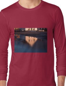 Reflection of a house in a water pond Long Sleeve T-Shirt
