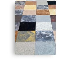 Display of different stone granite floor tiles Canvas Print