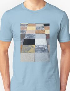 Display of different stone granite floor tiles Unisex T-Shirt