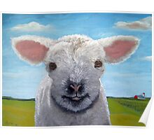 Happy Day farm animal landscape - lamb oil painting Poster