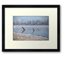 Winter river landscape Framed Print