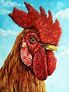 ROOSTER - realistic oil painting farm animal by LindaAppleArt