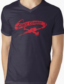 Space Cowboy - Distressed Red Mens V-Neck T-Shirt