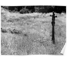 Ancient cross in a field near Finisterre Poster