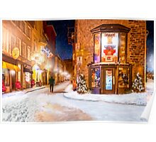 A Winter Night in Old Quebec Poster