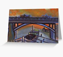 Unloading coal ( from my original acrylic painting ) Greeting Card