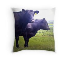Cley Cows Too B Throw Pillow